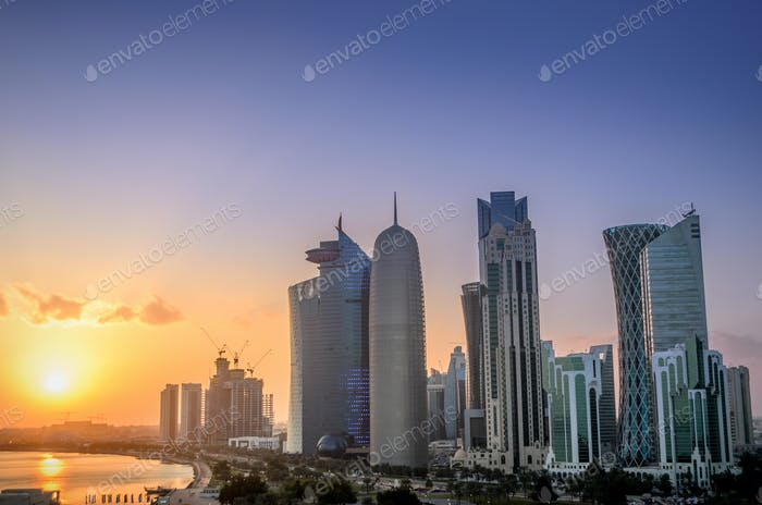 Sunset over the skyscrapers of Doha city in Qatar