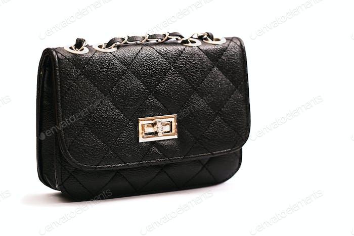 luxury leather female bag isolated on white background