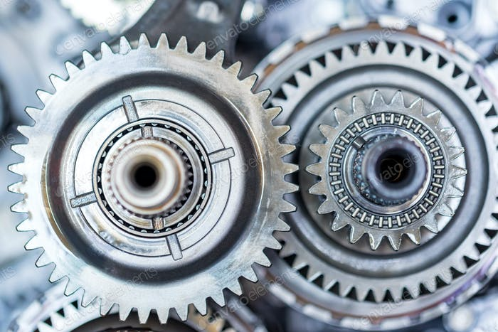 Nahaufnahme Schräggetriebe im Auto Automatikgetriebe