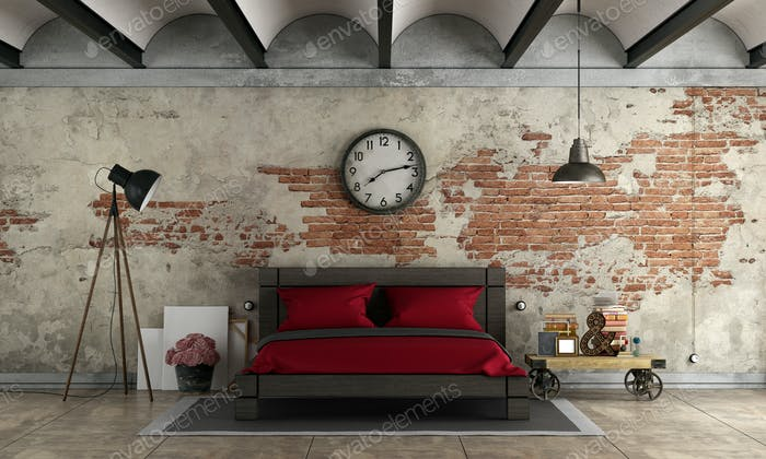 Master bedroom in industrial style