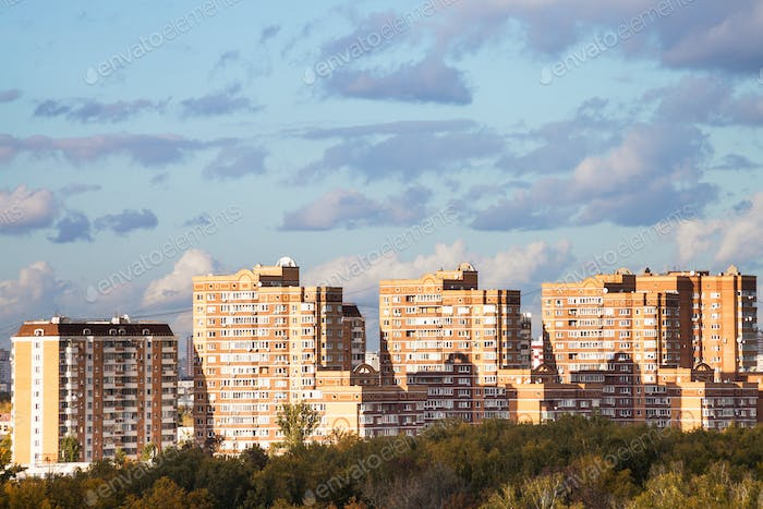 modern apartment houses in urban quarter in autumn