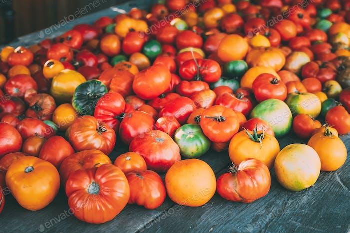 Bunte Bio-Tomaten auf lokalen Bauernmarkt