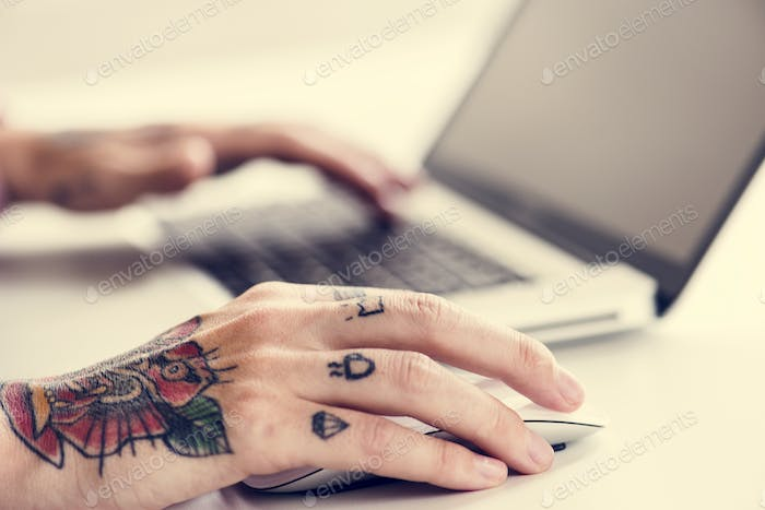 Business person working with a laptop