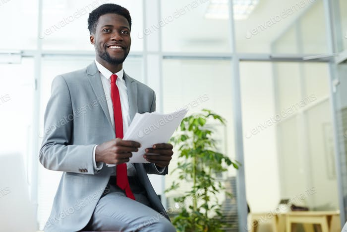 Banker with papers