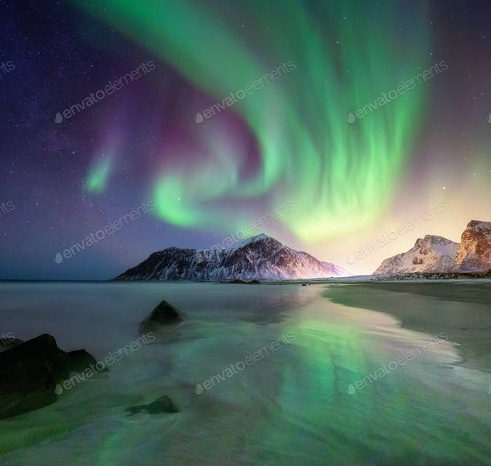 Northern lights in the Lofoten Islands, Norway.