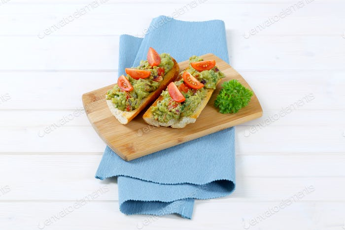fresh baguettes with guacamole