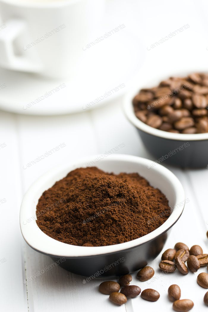 roasted coffee in ceramic bowl