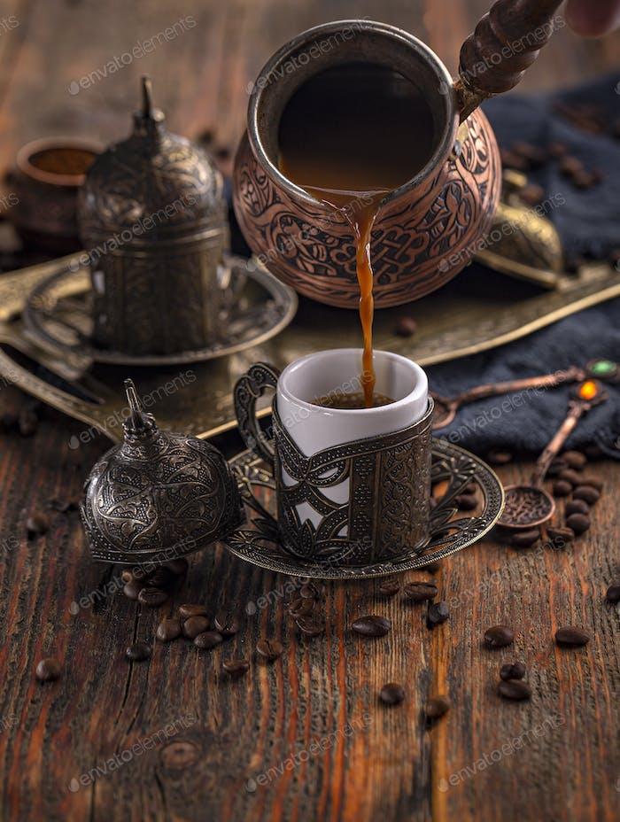 Fresh breved coffe in cezve