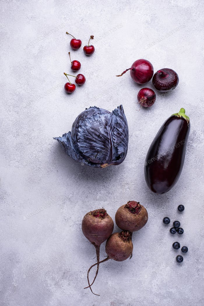 Assortment of purple vegetables and berries