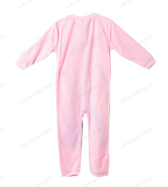 Pink fleece pajamas. Back side.