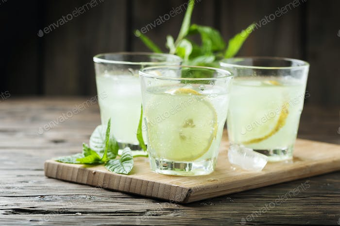 Fresh cocktail with soda and lemon