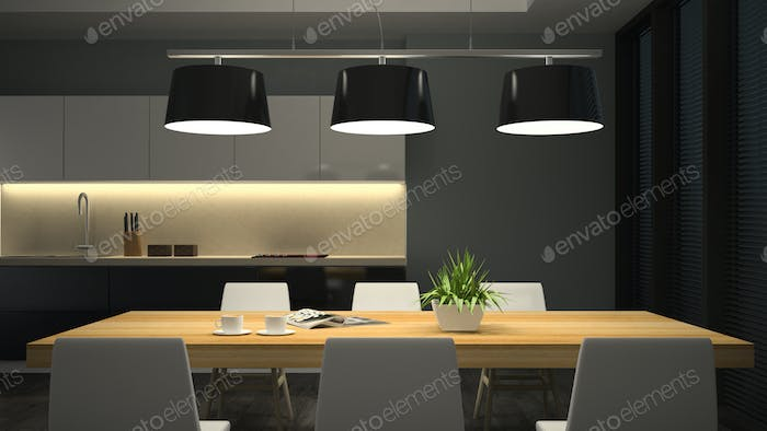 Night View Modern Interior Of Dining Room 3D Rendering