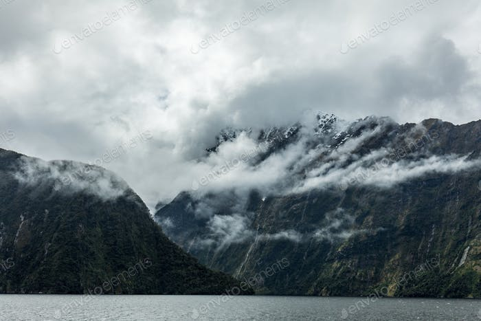 Cloudy and rainy day at Milford Sound, South Island, New Zealand
