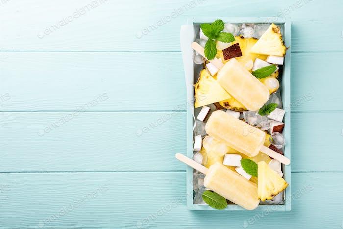 homemade pineapple coconut popsicles