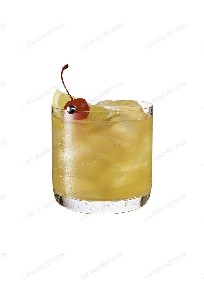 Refreshing Whiskey Sour Cocktail on white