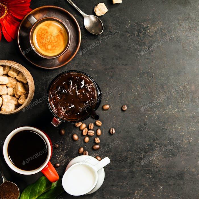 Rand von verschiedenen Kaffee, flache Lay, Draufsicht