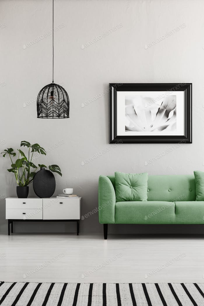Poster above green couch next to cupboard with plants in living
