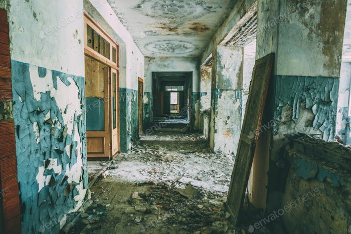 Dilapidated passage in school of Pripyat. Chernobyl Disaster