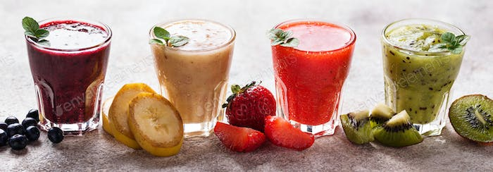 Assortment of various healthy smoothies