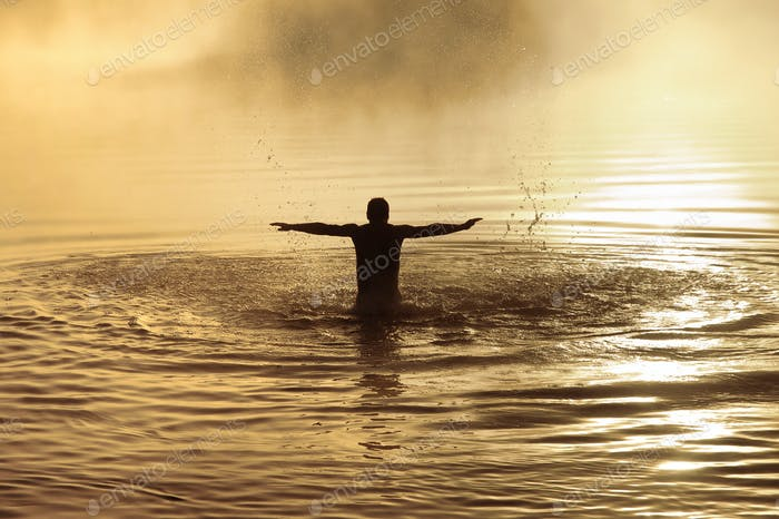 Male in water