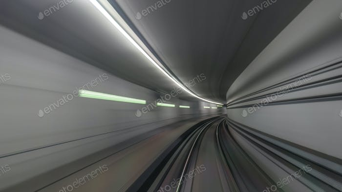 Subway rails in tunnel