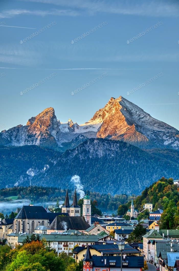 Mount Watzmann and the city of Berchtesgaden