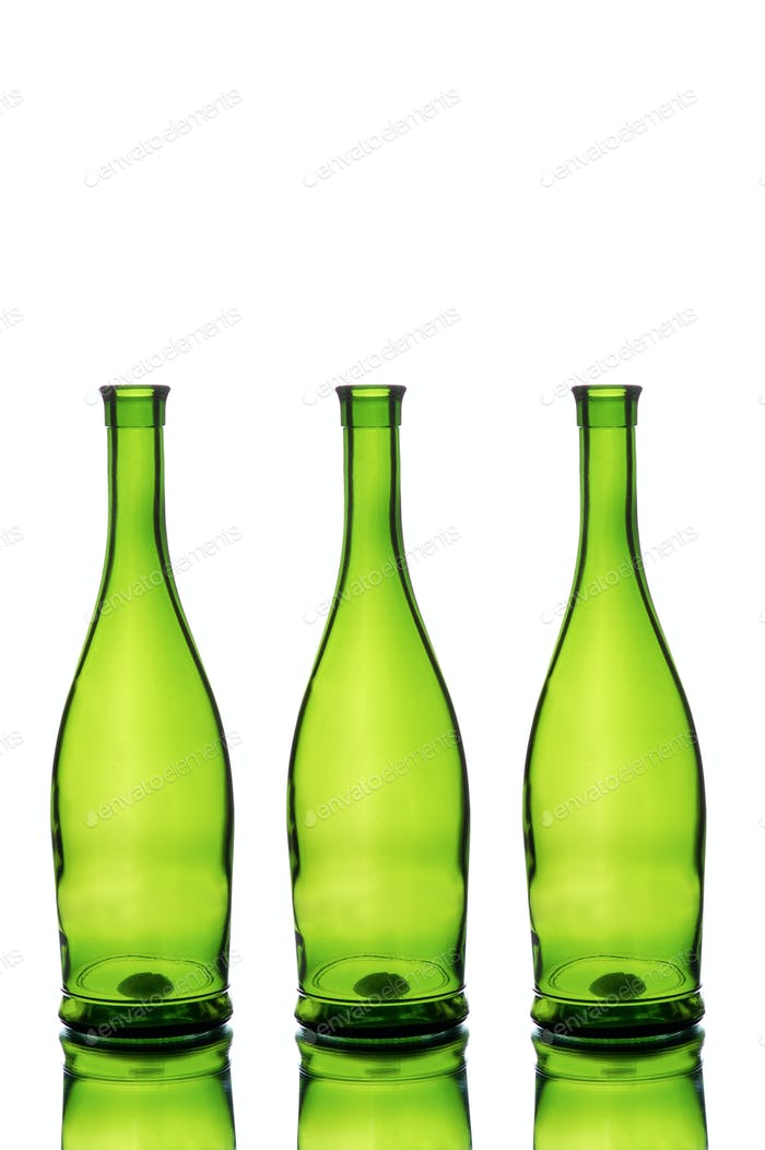 Three green wine bottles