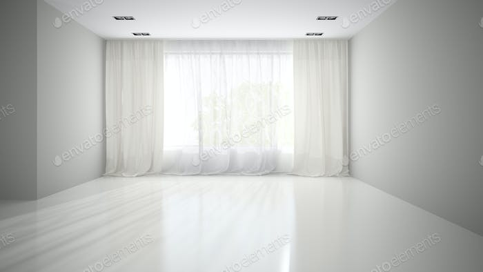 Empty room with grey wall 3D rendering