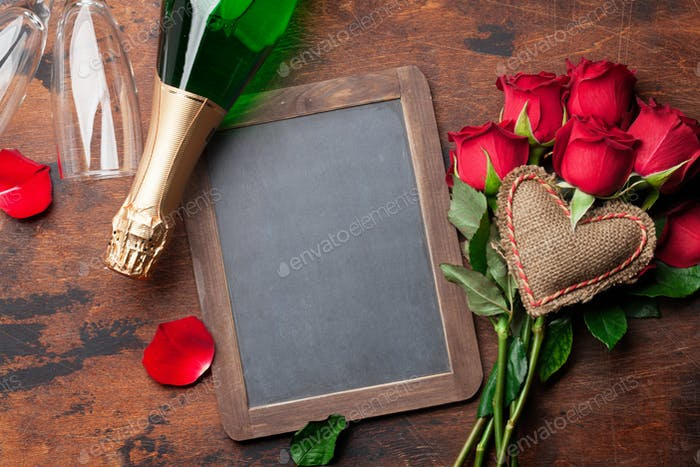 Valentine's day greeting card with roses