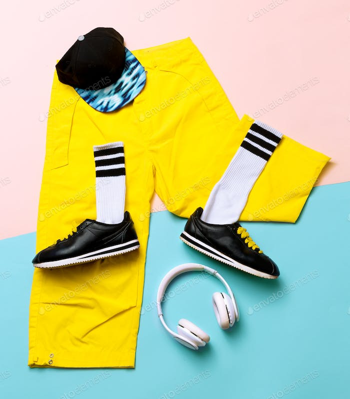 Fashion Training Sneakers and fashion socks. Hipster outfit Art