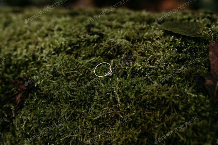 Engagement ring on a moss