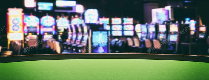 Casino slot machines, green felt roulette table closeup view. 3d illustration
