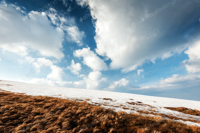Fantastic spring landscape with snow mountain
