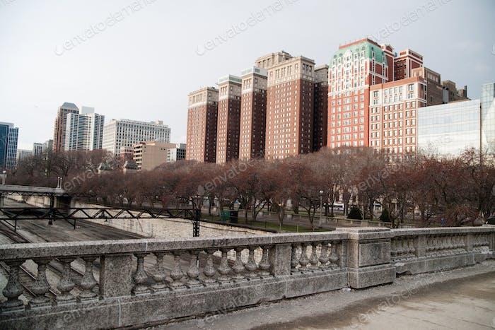 Winter Sky Park Overpass Apartment Building Chicago Illinois