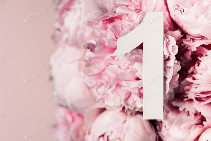 Creative layout. Pink peony flowers and digit one 1. Birthday greeting card. Anniversary concept