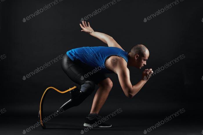 Paralympic sportsman running