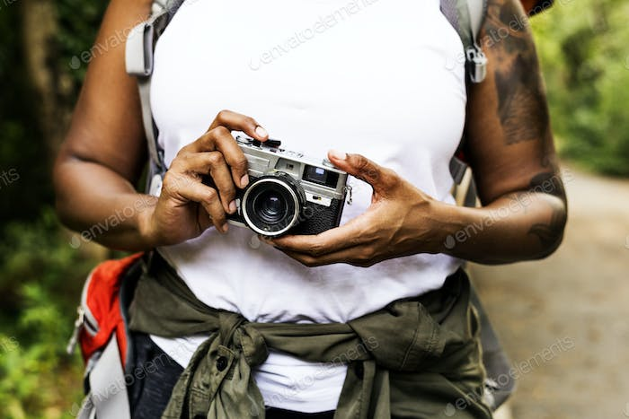 Woman with an analog camera