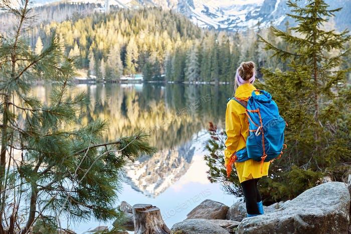 Horizontale Ansicht einer Touristin genießt einen ruhigen Blick auf den Bergsee, steht zurück zur Kamera,