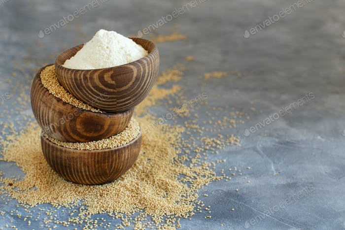 Bowls of raw Amaranth flour and seeds