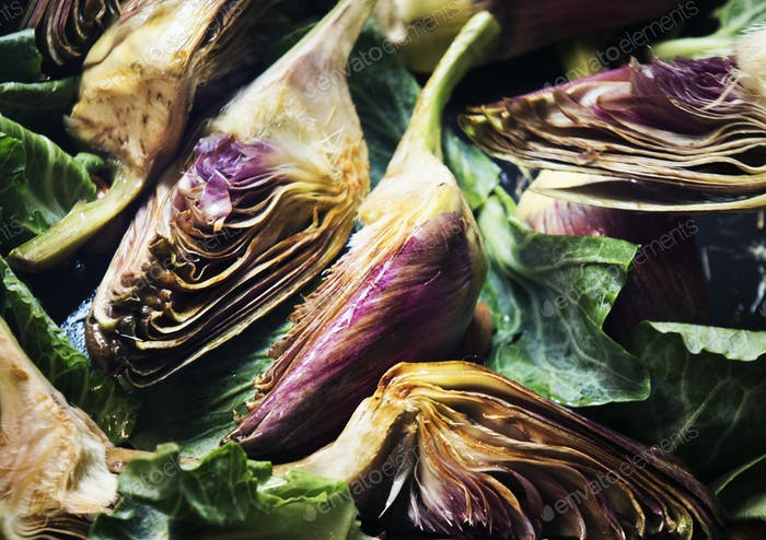 Heart of artichoke food photgraphy recipe idea