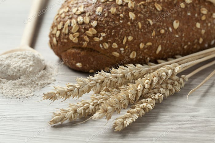 Whole weat bread,dried wheat and flour