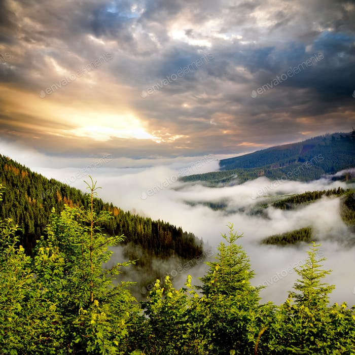 Nebel Sonnenaufgang auf den Bergen