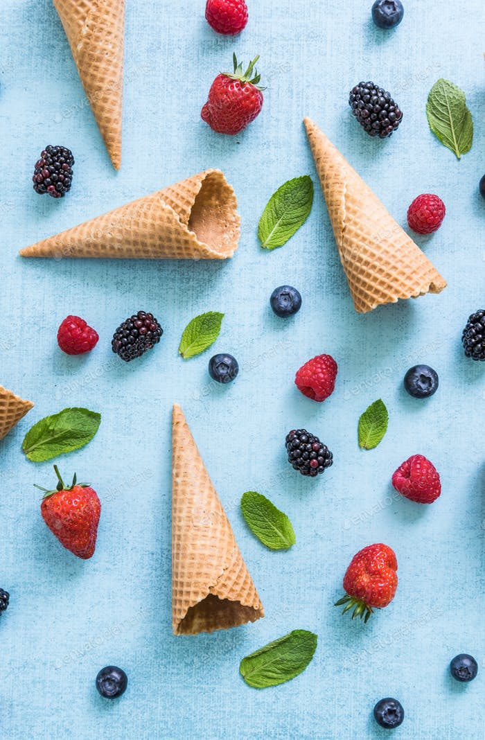 flat lay refreshing ice cream, overhead