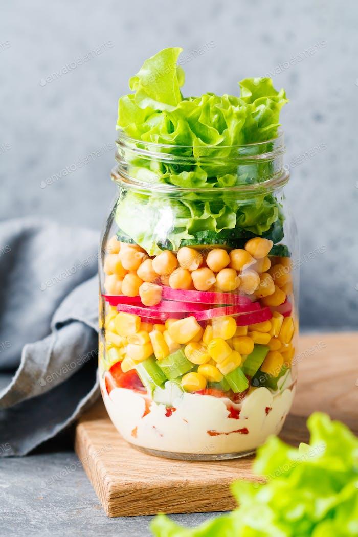 Single jar of salad