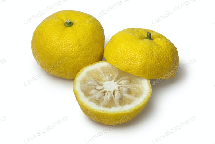 Fresh yellow whole and half Japanese Yuzu