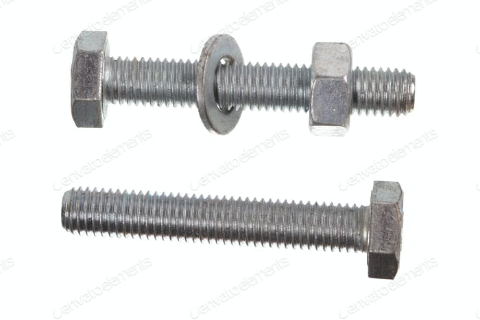 Two metal bolts with nut and shim