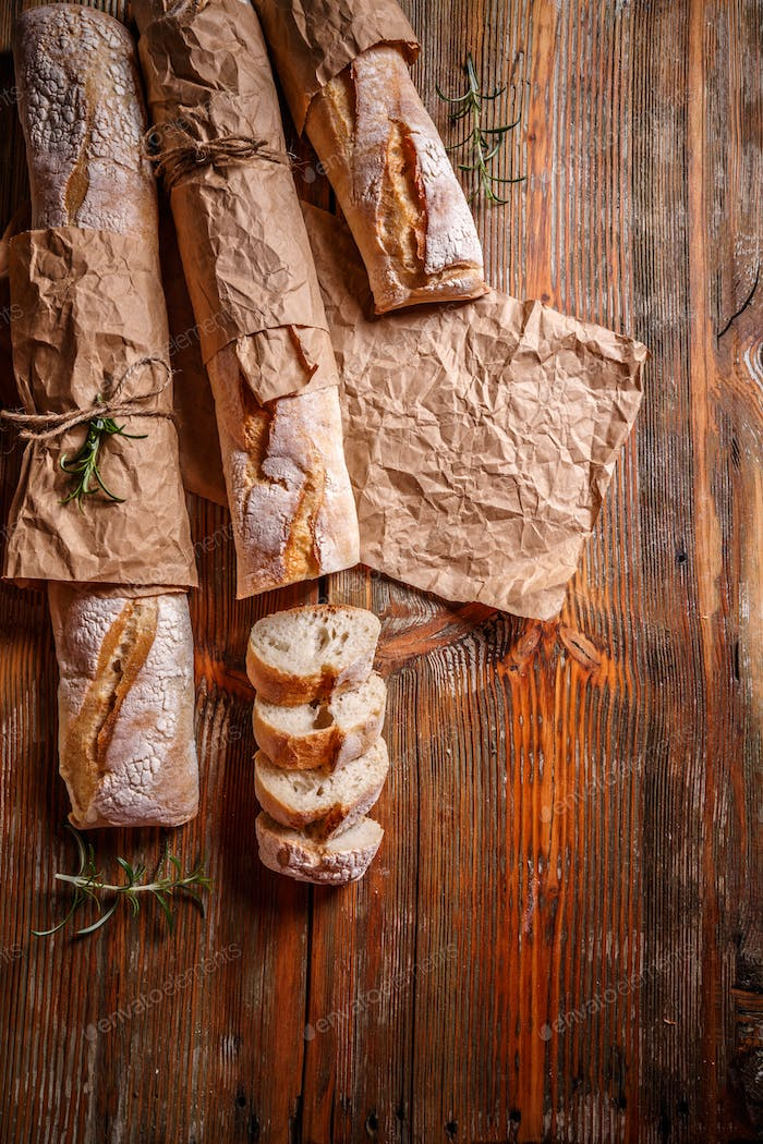 Top view of French baguettes