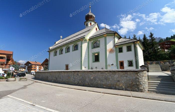 alpine church in San Cassiano