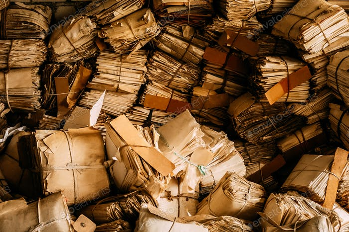 Old Paper Waste. Vintage Keeping Records In Heaps