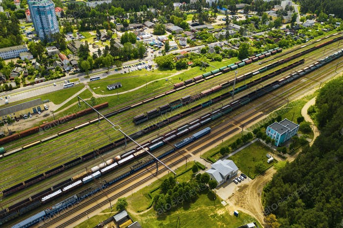 aerial photography of railway tracks and cars.Top view of cars and Railways.Minsk.Belarus